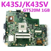 цены K43SJ GT520M 1GB Mainboard REV 4.1/3.0  For ASUS X43S A43S K43S A83S A84S A43S K43SV K43SJ K43SM Laptop Motherboard 100% Tested