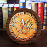 Retro Style Ancient Egyptian Indian King Cobra Faux Alarm Clock Minimalist Desktop Clocks Lazy Watch Clock Home Mini Clock