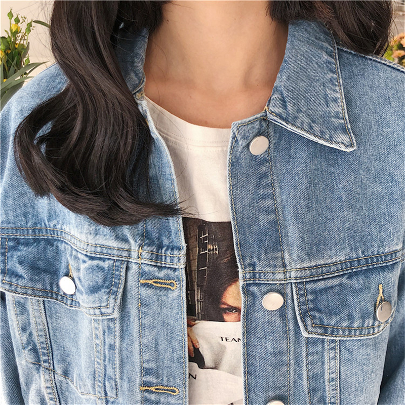 RUGOD Solid Turn-down Collar Jean Jacket for Women Loose Casual Blue Fashionable Women Coats Female outwear Denim Feminine 6
