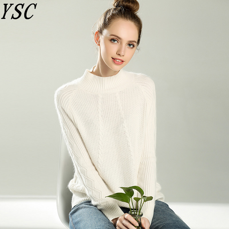 YUNSHUCLOSET Winter Hot Sales Women's Knitted Cashmere Sweater Half high collar Seven pin twist flower Pullover Free Shipping