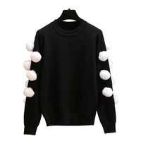 2018 Autumn Winter New Stylish Women Sweaters Full Sleeve O neck Knitted Pullovers Appliques with White Ball Female Fall Outfits