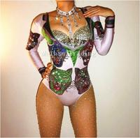 Fashion Sparkly Crystals Tiger Pattern Bodysuit Women Sexy Outfit Party Costumes Stage Wear Leotard Dance Singer Bodysuits