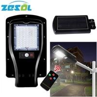 ZESOL 30W LED Solar Power Street Light PIR Motion Sensor Lamp Garden Security Lamp Outdoor Wall Lights with pole arm accessories