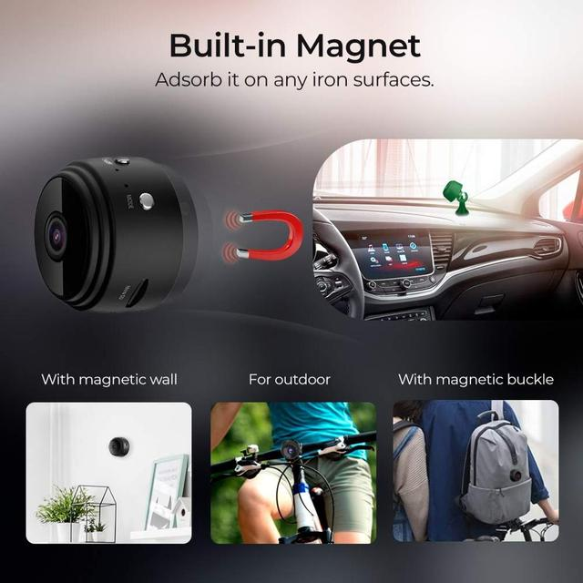 WiFi Camera 1080P Wireless Portable Security Camera Magnetic Small Home Cam with Motion Detection and Night