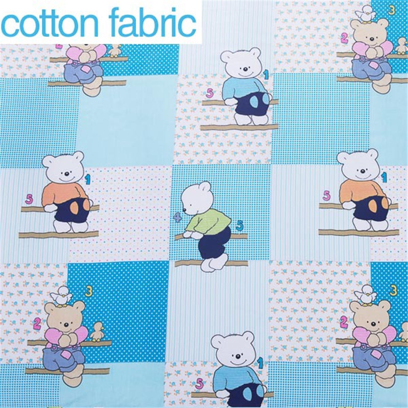 1 meter bear ski cartoon printed 100 cotton fabric for for Sewing material for sale