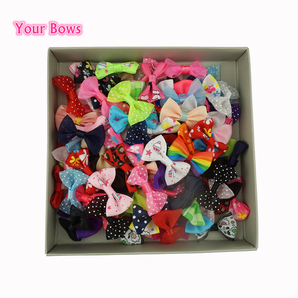 You Bows 100 Pcs/lot 50Colors Mini Ribbon Bow Pet Bowknot Craft ONLY BOW NO CLIPS DIY Wedding Decor Hair Accessories Wholesale