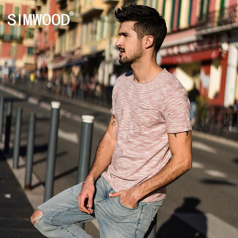 SIMWOOD 2019 New Arrive Summer   T     Shirt   Men Slim Print Fit Cotton Curl Raw neckline Short Sleeve Tshirt Brand Clothing 180051