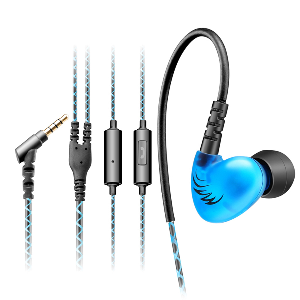 QKZ C6 Waterproof In-ear Style HIFI Wired Earphones Sport HIFI Bass Music Headset Earpiece with Microphone for Phone Tablet Pc