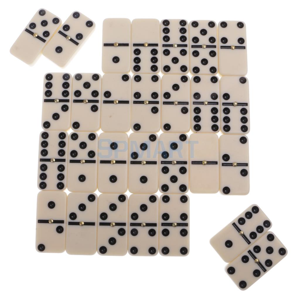 Double Six Dominoes Set of 28 Traditional Board Travel Game Toy Plastic Box Black and Beige бомбер printio ultimate fighting championship new
