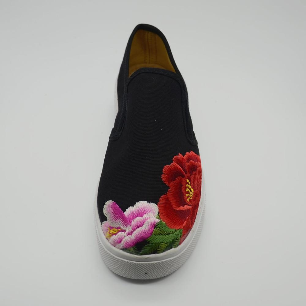 Noir Casual Rouge Plat formes Femmes Veowalk Pour Conduite Plates on Fleur Chaussures Mocassins Slip Brodé Femme Toile Mode wqqOAP5