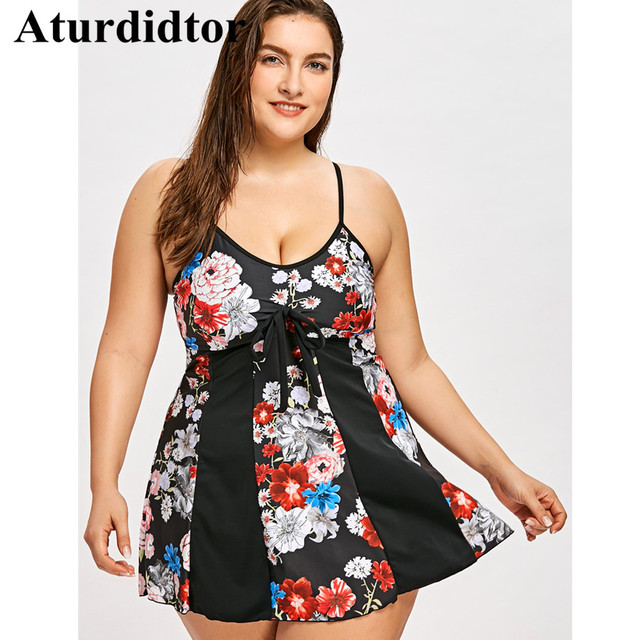 65349fe33b934 Plus Size Swimwear Floral Empire Waist Skirted Tankini Set Plus Size  Swimsuit Bathing Suits Large Size Beach Dress Bodysuit 5XL