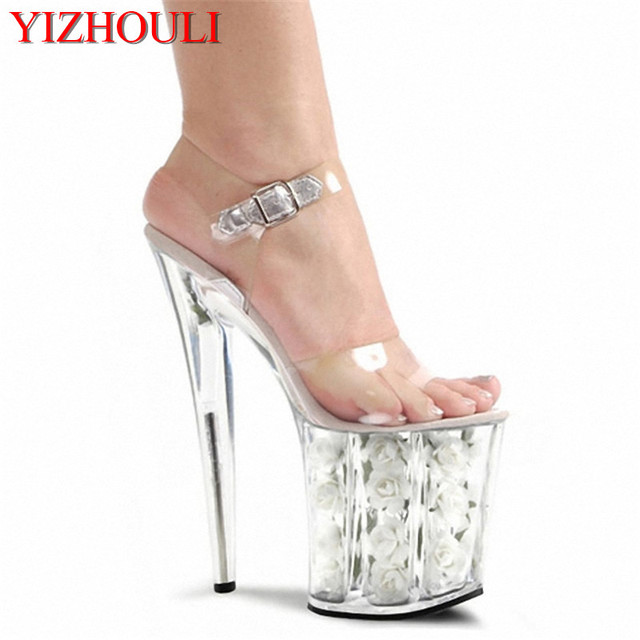 335b462e921 US $57.12 32% OFF|20cm sexy bottom high heels lady fashion clear sandals 8  inch white flowers for wedding dress Crystal shoes-in High Heels from Shoes  ...