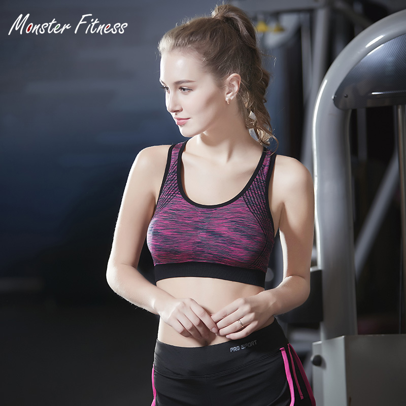 Monster 2018 Cross Strap Back Women Sports Bra High Impact For Fitness Yoga Running Cropped Top Sports wear Tank Tops For Women
