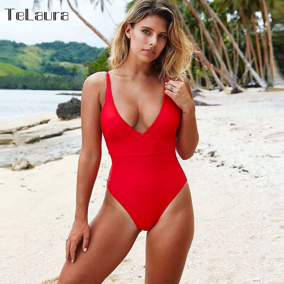 Sexy One Piece Swimsuit 2018 Swimwear Women Monokini Solid Swimsuit Push Up Bodysuit Backless Bathing Suit Summer Beach Wear floral two piece swimsuit women swimwear green leaf bodysuit beach bathing suit swim swimsuit push up monokini bathing wear 2017 page 2