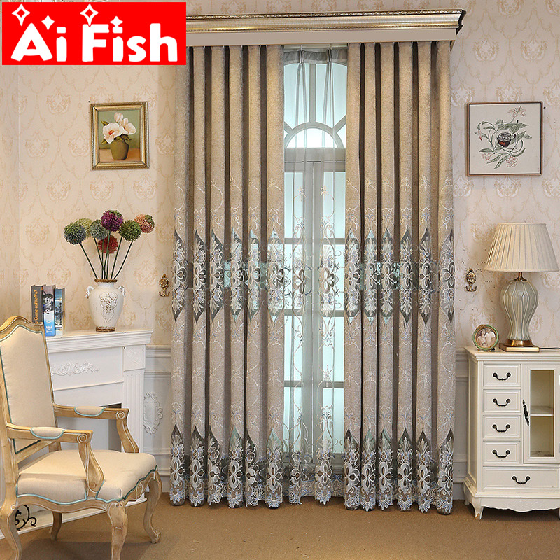 Luxury Embroidered Chenille Fabric Insulated Gray Curtains For Living Room Bedroom Window Customized Floral Cloth Tulle WP078-4