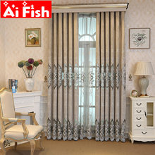 Luxury Embroidered Chenille Fabric Insulated Gray Curtains for Living Room Bedroom Window Customized Floral Cloth Tulle WP078-4(China)