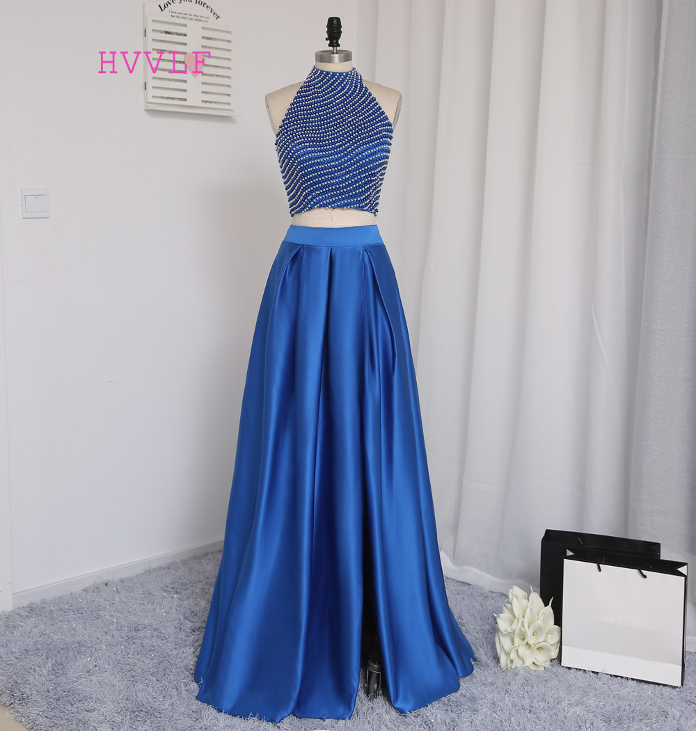 Royal Blue Real Sample 2019   Prom     Dresses   A-line High Collar Floor Length Pearl Two Pieces   Prom   Gown Evening   Dresses   Evening Gown