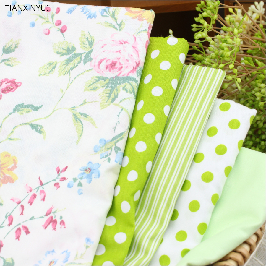 100% Cotton Fabric For Patchwork Sewing penoy Textiles Fabric 40* 50 cm pillow Fabric 5 pcs Dot Bedding Bags Body Cloth