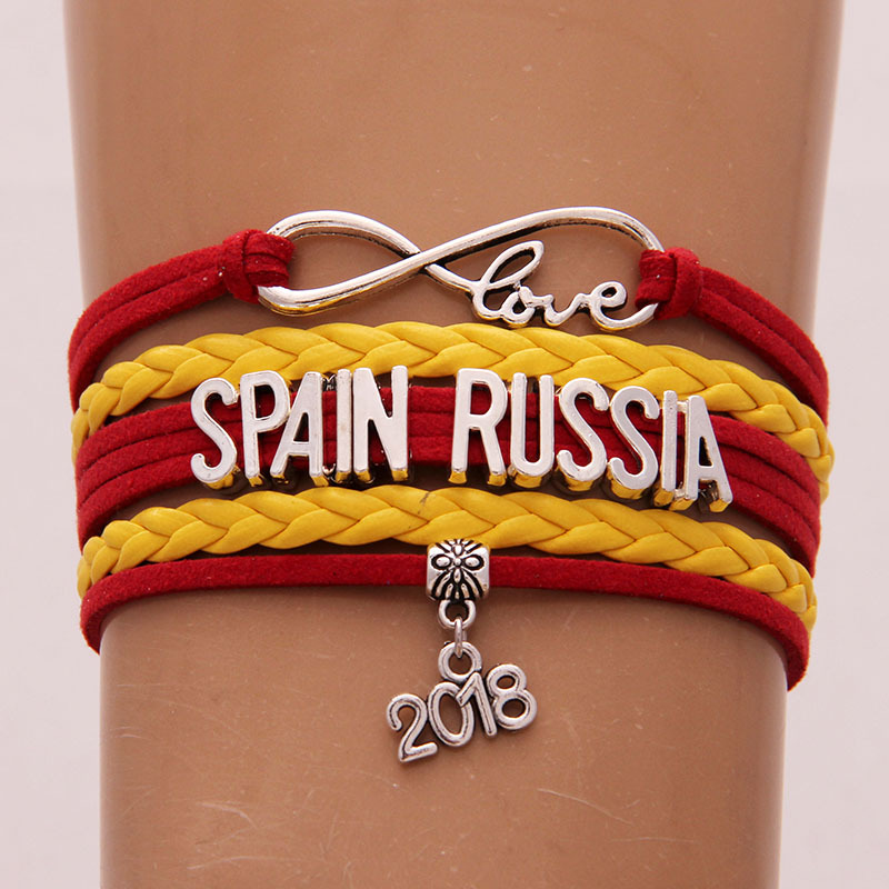 2018 Spain Russia Bracelet Charm Infinity Love Handmade National Flag Bracelet Best Gift Jewelry for Football Fans