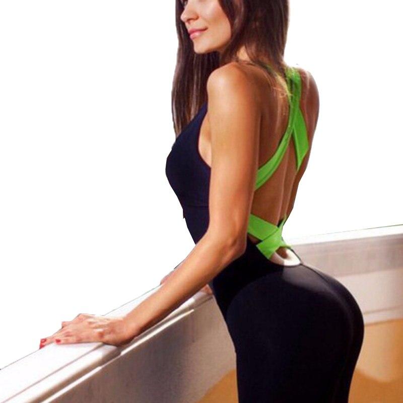 8603e8f28b86 Fanceey Sexy espalda descubierta mono deportivo Mujer Yoga conjuntos sin  costuras Fitness gimnasio ...