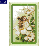 NKF Lily Angel Pattern Stamped Counted Cross Stitch Painting 11CT14CT Cross Stitch Kit for Embroidery Needlework Home Decor