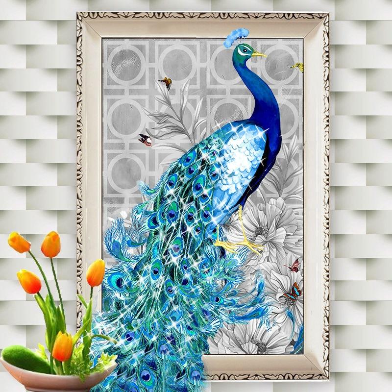 Vyšívání 5D DIY Diamond Výšivky Obrazy Blue Peacock Zvíře Krásné Peacock Home Dekorace Rubik's Cube Drill Picture