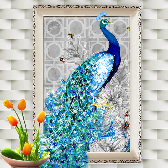Needlework 5D DIY Diamond Embroidery Paintings Blue Peacock Animal  Beautiful Peacock Home Decoration Rubiku0027s Cube Drill