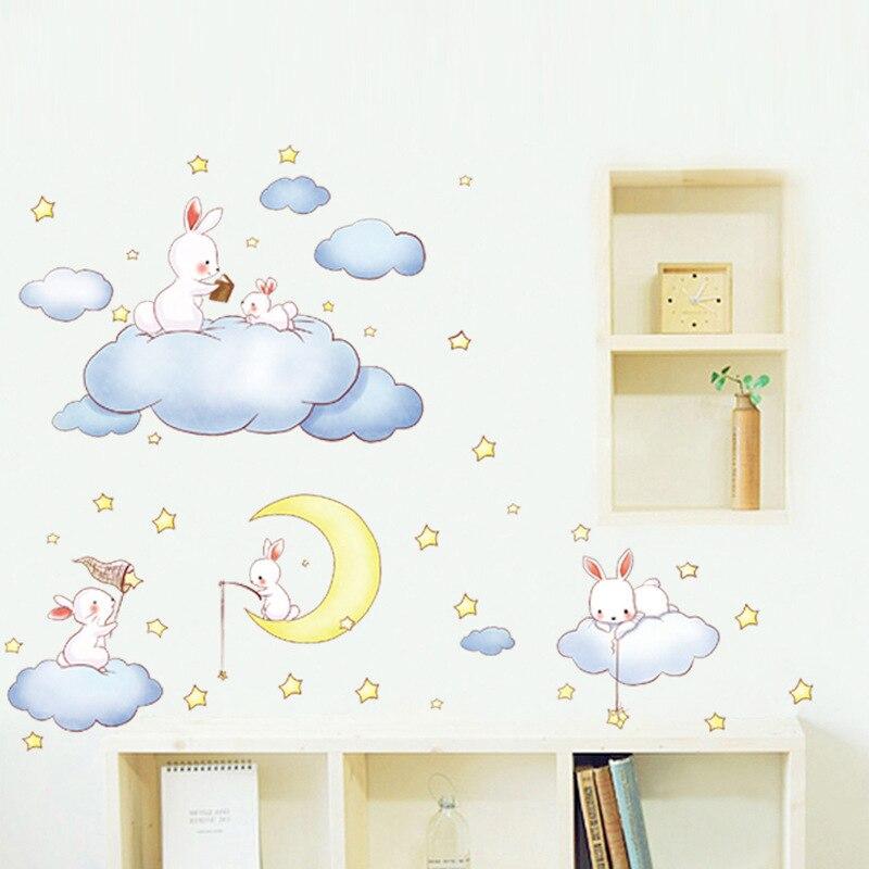 Elegant Cartoon Weißen Wolken Kaninchen Wandaufkleber Für Kinderzimmer Baby  Schlafzimmer Wereldkaart Wohnkultur Mond Und Die Sterne Wandtattoos