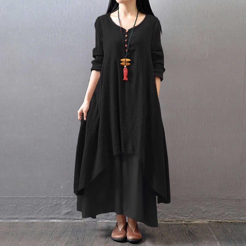 Blanc 5XL grande taille à manches longues automne robe femmes v-cou 2 couche asymétrique décontracté Maxi longue robe dames d'été Sundress 2019