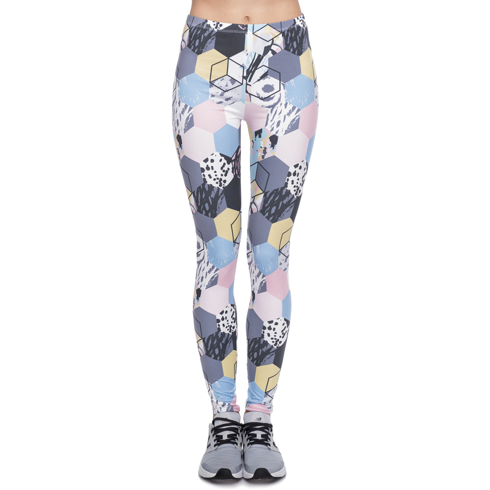 Hot Sale Leggins Mujer Colorful Honeycomb Printing Legging Fitness Feminina Leggins Woman Pants Workout Leggings