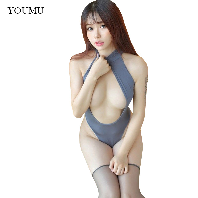 Women Bodysuit Catsuit Halter Sexy Teddy High Slit Open Bust Crotchless 906-980