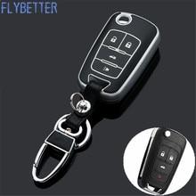 Flybetter Новый ABS Материал продукты Ключи чехол для Chevrolet Malibu 4 Пуговицы флип ключ с кнопкой кожи без логотипа l468