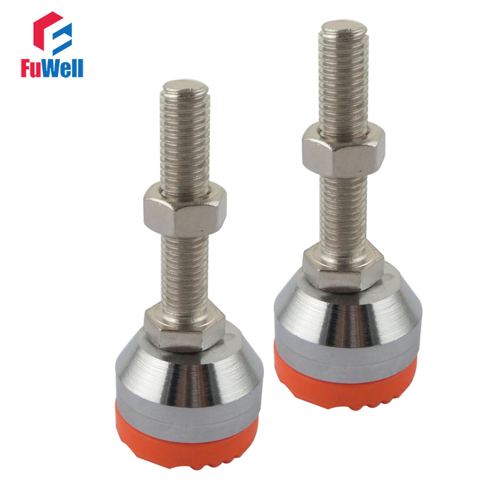 2pcs M12 Thread Adjustable Foot Cups 40mm/50mm Diameter Chrome Plated 60/80/100mm Thread Length Articulated Leveling Foot диски helo he844 chrome plated r20