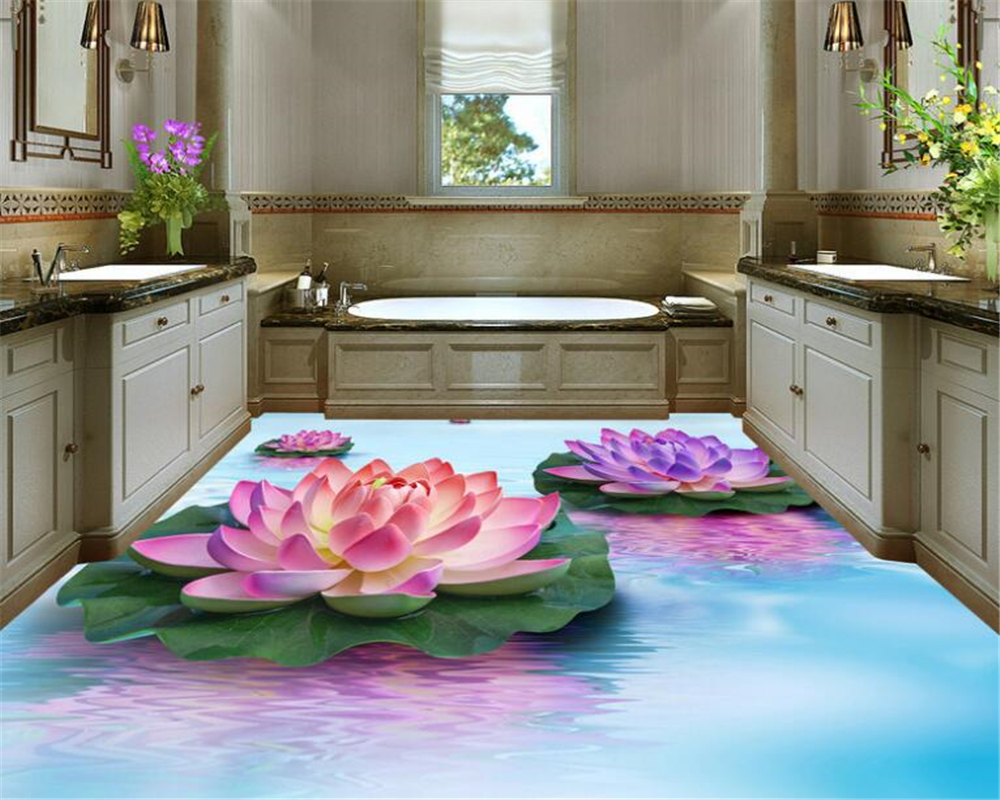 beibehang wallpaper for walls 3 d Fashion creative water lotus 3d flooring decorative painting for indoor aesthetic wallpaper