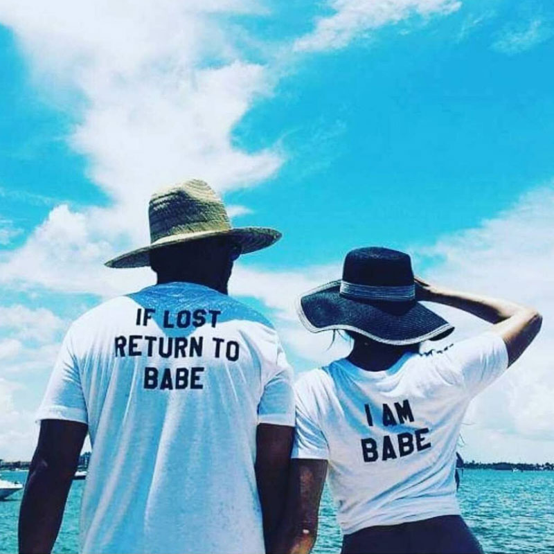 2018 Summer Harajuku Couple Matching T Shirt If Lost Return To Babe I Am Babe Letter Men Women Lovers Letters Printing T-shirt