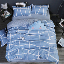 Blue and White Strip Plaid printing bed sheet pillowcase set lines king size duvet cover quilt house linen