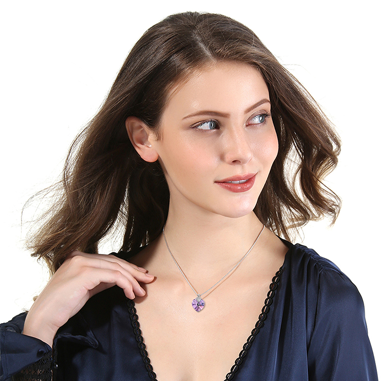 HTB1agD4bojrK1RkHFNRq6ySvpXaO Swarovski Crystal Necklace Heart Shape Amethyst Crystal Pendant Necklace Fashion Jewelry Choker Necklace Gift for Lady Collares