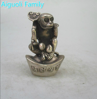 Metal Crafts For Christmas Home decorations+Collectible Chinese Old Handwork Tibet Silver Carved Ruyi Monkey Statue/ sculpture