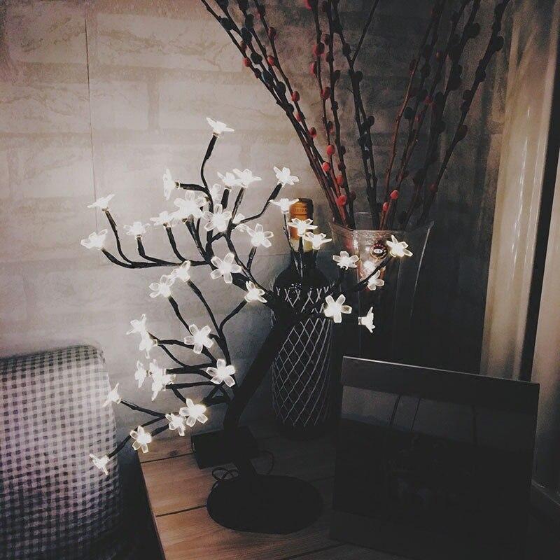 LED Crystal Cherry Tree Light Christmas New Year Wedding Party Luminaria Decoration Interior Lighting Night Light Table Lamp mini led crystal cherry blossom tree light night lights table lamp christmas fairy wedding decoration indoor lighting luminarias