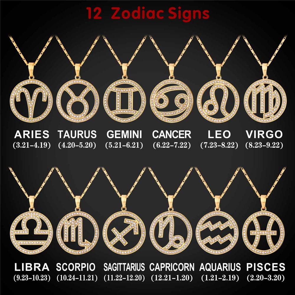 Aliexpress Com Buy 12 Zodiac Signs Constellation: Gold Color 12 Zodiac Signs Necklace Cubic Zirconia
