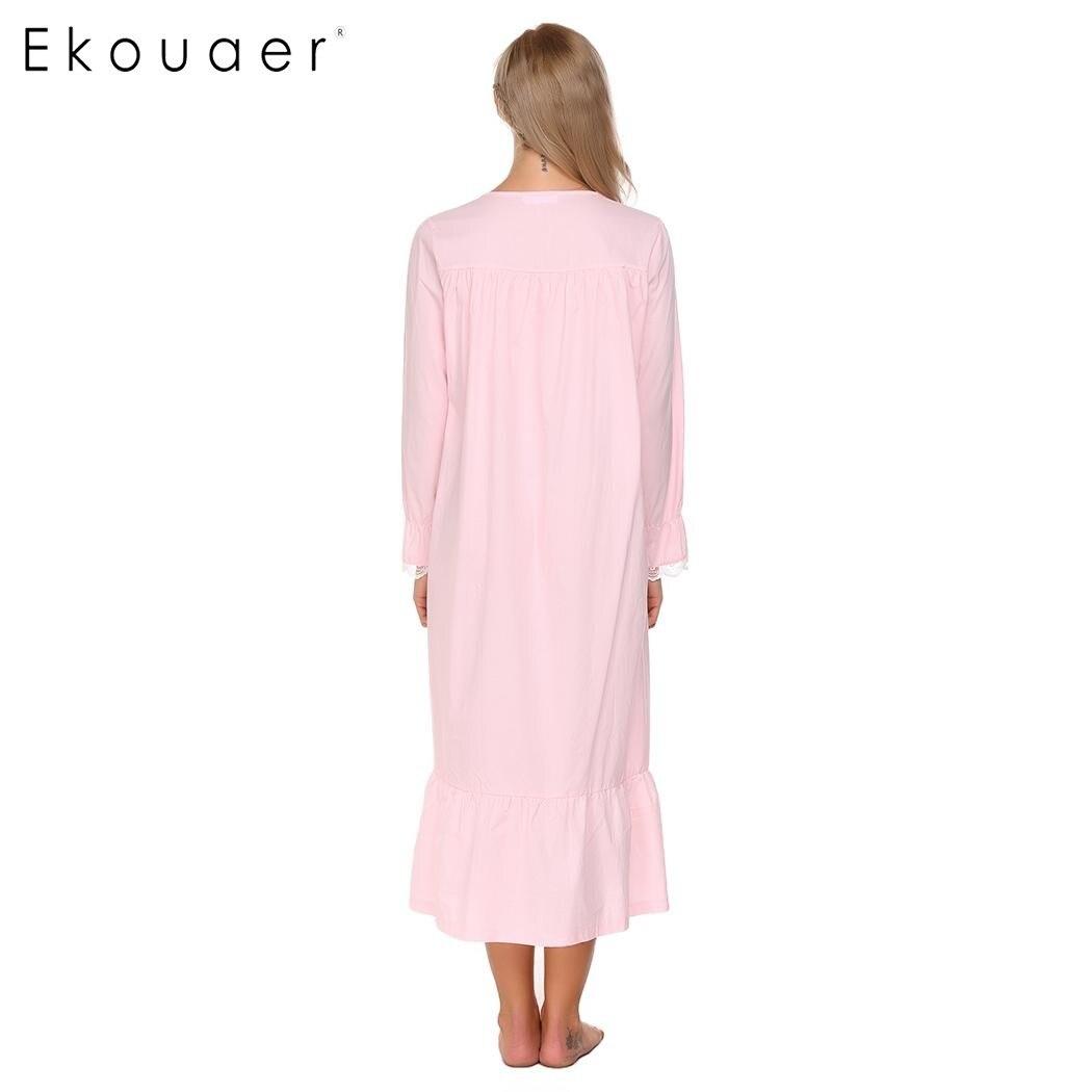 Ekouaer Elegant Solid Nightwear Women Victorian Nightgown Long Sleeve Sleepwear Lace Patchwork Ruffled Hem Night Dress Plus Size 4