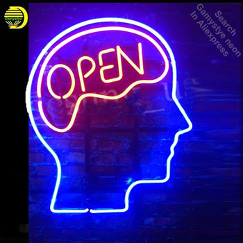 Neon Sign for Open Mind Brain Open Red Neon Tube sign handcraft Shop Hotel Store Displays Tube Glass Neon Flashlight sign