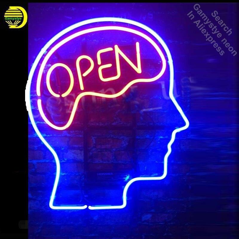 Enseigne au néon pour esprit ouvert cerveau ouvert néon rouge Tube signe artisanat magasin hôtel magasin affiche Tube verre néon lampe de poche signe
