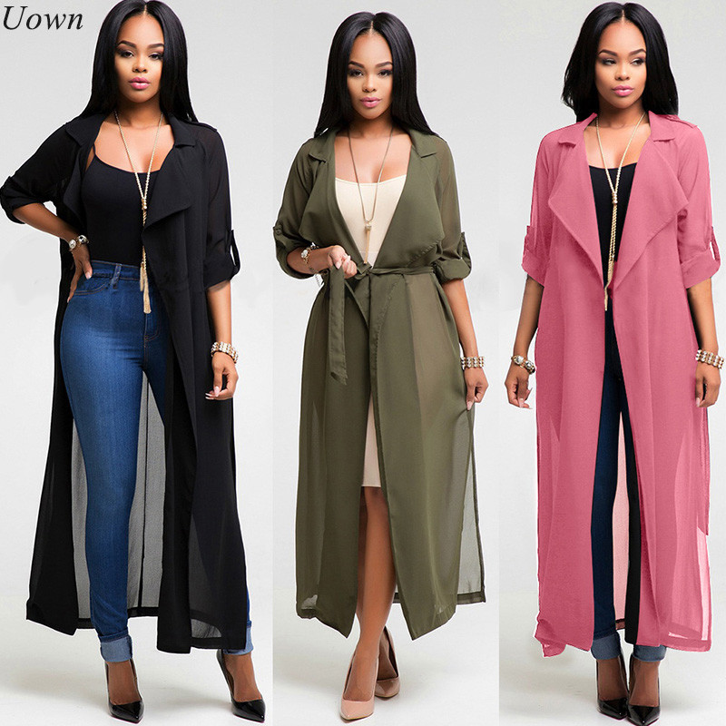 Chiffon Blouse Long Shirt 2017 Ny Sommar Höst Casual Full Sleeve Down-Down Collar Cardigan Blusar Skjortor Med Sashes