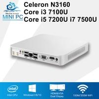 Mini PC Core CPU 7th Gen 7100U i3 i5 i7 7200U 7500U Windows 10 4 K Odtwarzacz N3160 Mini Obliczyć Komputery Stacjonarne Celeron 8 GB RAM HDMI 6 * USB