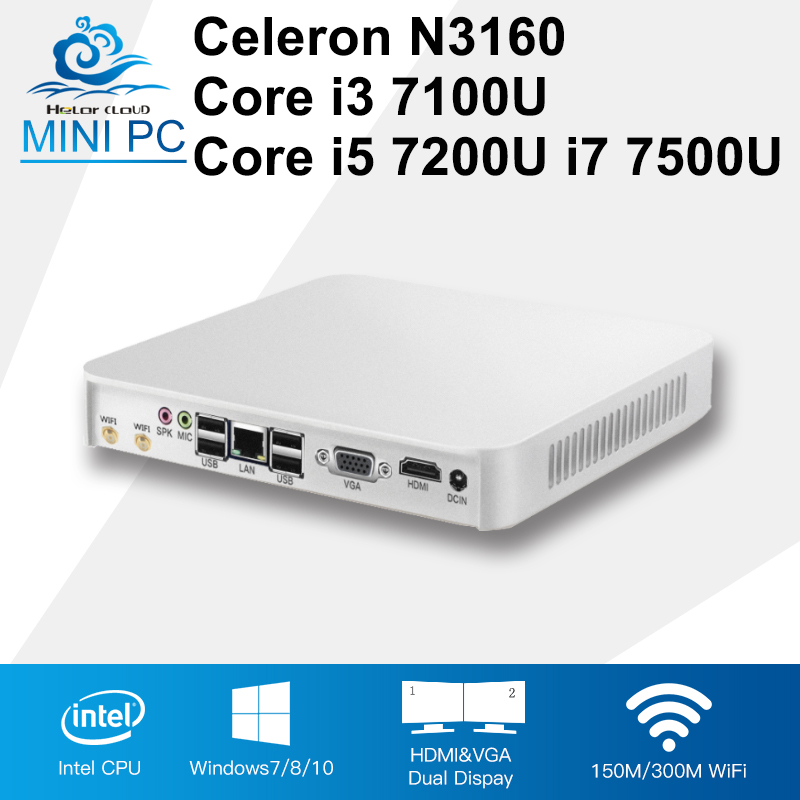 Mini PC Core CPU Gen 7th i3 7100U i5 7200U i7 7500U Windows 10 4K Player Celeron N3160 Mini Compute Desktops 8GB RAM HDMI 6*USB partaker 7th gen intel core i7 7500u kaby lake mini pc ddr4 ram windows 10 micro pc 4k htpc linux kodi