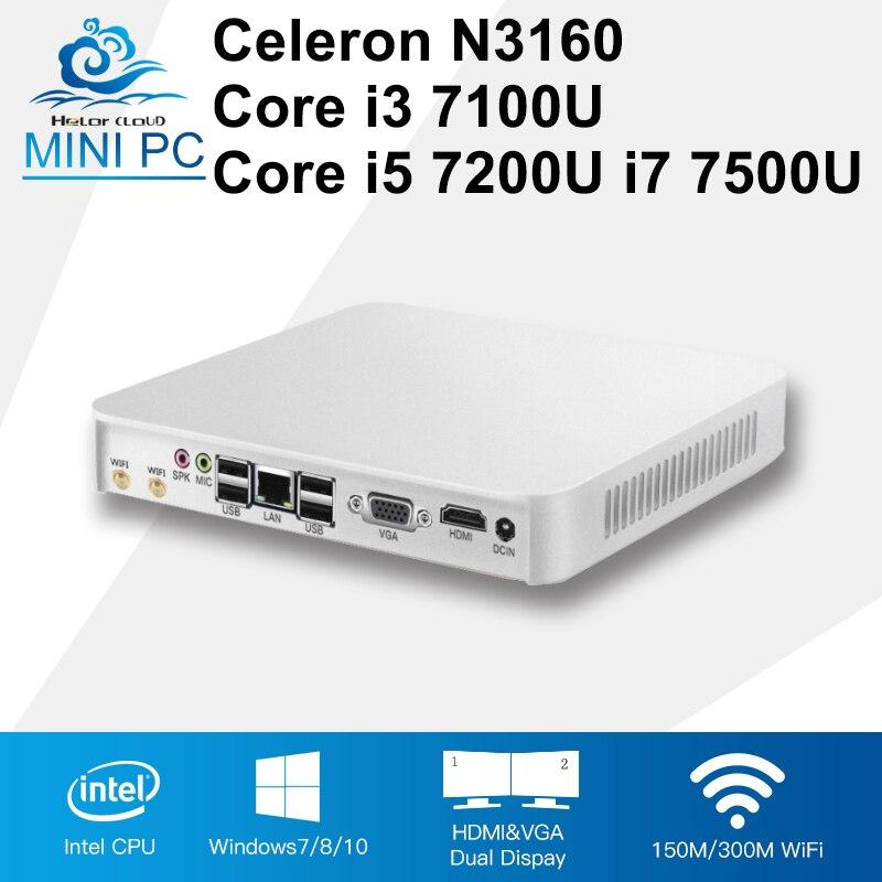 Mini PC Core CPU Gen 7th i3 7100U i5 7200U i7 7500U Windows 10 4K Player Celeron N3160 Mini Compute Desktops 8GB RAM HDMI 6*USB