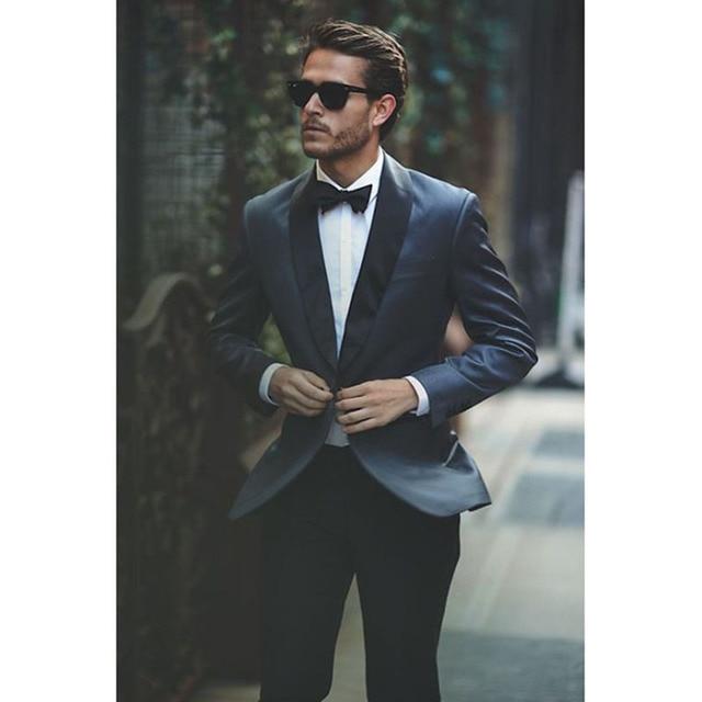 Blue Dress Man Shawl Collar Groom Wedding Dress Dance Formal Men