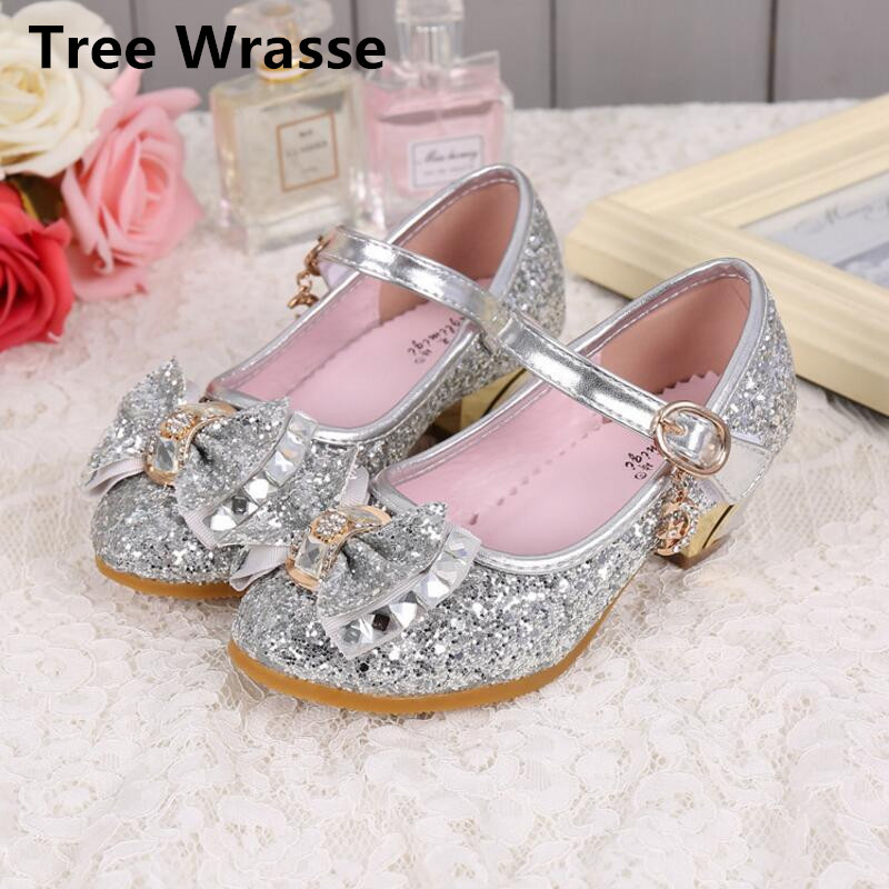 8d8b494b119787 Tree Wrasse Girls Princess Shoes Children Wedge Shoes Rhinestone Heels  Glitter Leather Breathable For Kids Sequined