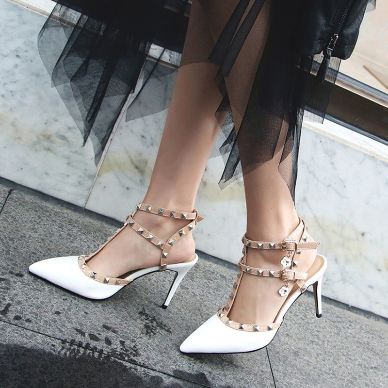 plus size 34 47 Fashion Women Pumps Ladies Sexy Pointed Toe High Heels Rivets Buckle Ankle T Strap Sandals Party Wedding shoes in High Heels from Shoes